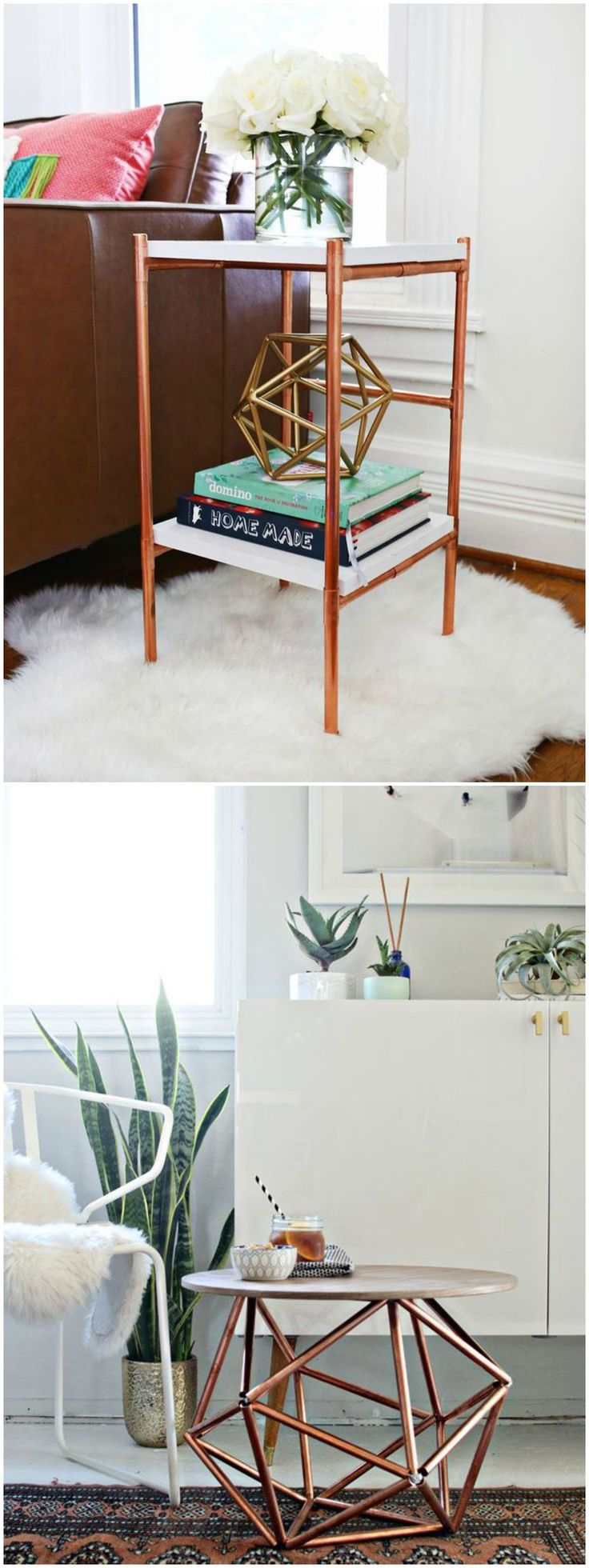 DIY con tubos de cobre. Visto en www.ecodecomobiliario.com