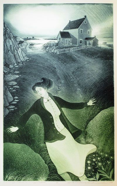 """Molly Glover on Bragg's Island"" (1997) David Blackwood. Etching."