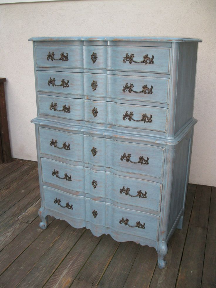 chic and shabby blue grey tall dresser or bedroom set chic grey and shabby chic. Black Bedroom Furniture Sets. Home Design Ideas