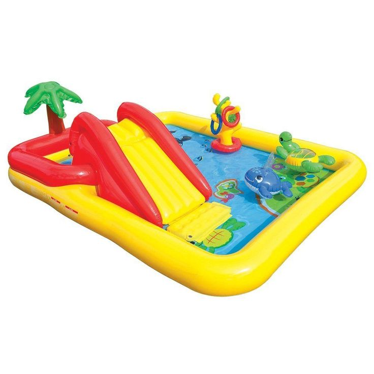 Water fun for you and your little child to love! The Ocean Play Center from Intex is designed with fun colours and adorable water friends! INFLATABLE OCEAN PADDLING POOL & PLAY CENTRE. Your little ones will love the water slide and inflatable palm tree. | eBay!