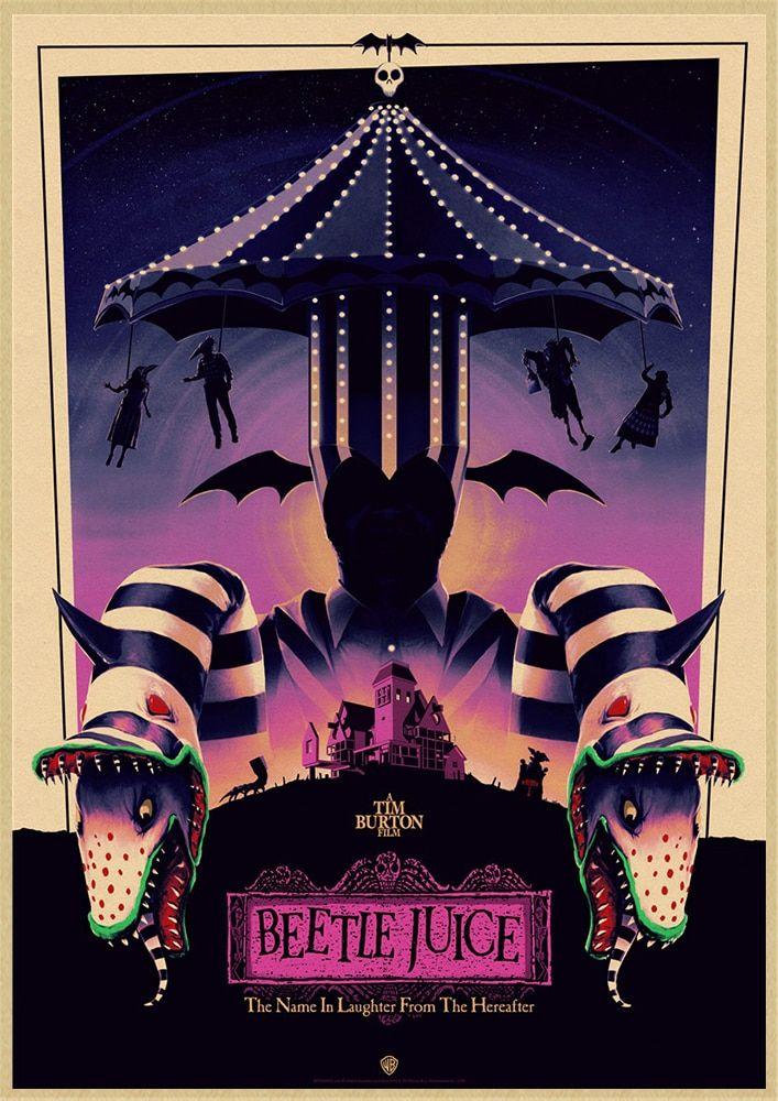Beetlejuice Classic Horror Movie Classic Decorative Retro Poster Wall Art Painting Room Decor Www Minogd Retro Poster Classic Horror Movies Beetlejuice Movie