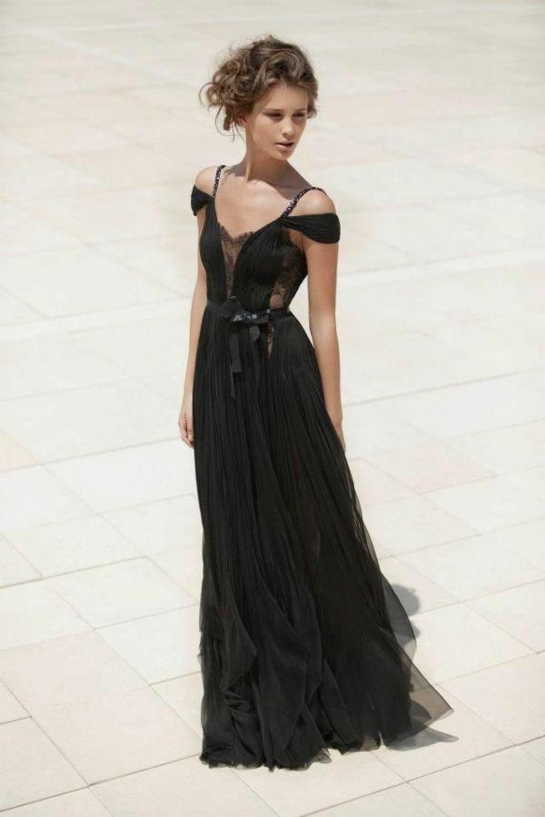 Lange Abendkleider schwarz seide