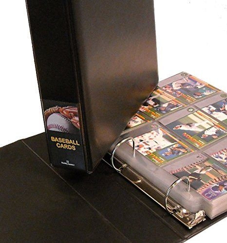 """Why settle for an ordinary baseball card album? This great album displays and protects your collection in style. The album cover is richly padded leatherette. The binder is a trim 2½"""" thick with a cle"""