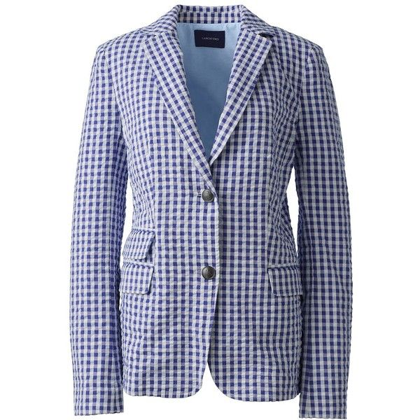 Lands' End Women's Petite Gingham Blazer ($60) ❤ liked on Polyvore featuring outerwear, jackets, blazers, purple, purple blazer jacket, gingham jacket, blazer jacket, lands end blazer and petite jackets