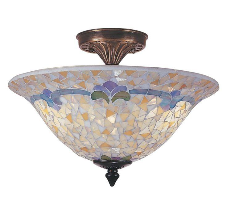dale tiffany tm100553 johana mosaic flush mount light antique brass and art glass shade