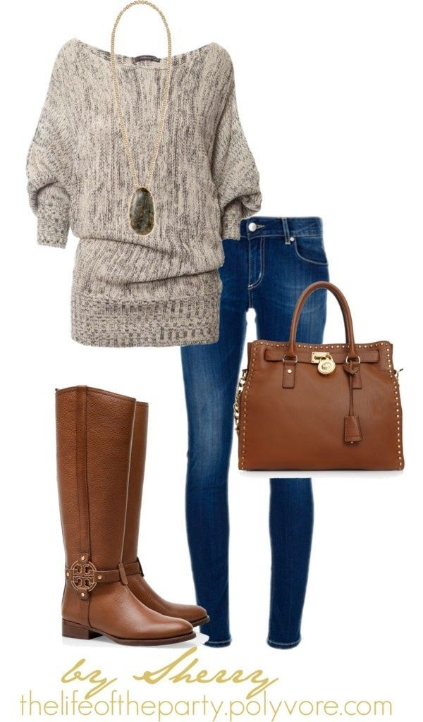 What: Matching boot and purse, blue skinny jean and a comfortable loose fitting top. Where: Pinterest Why: Because it is comfortable and looks put together. This outfit is practical.