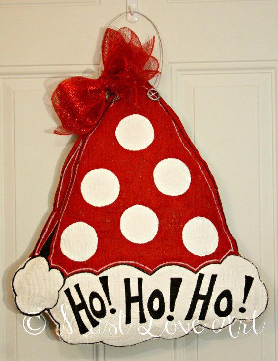 Santa Claus Christmas Hat Burlap Door Hanger by MustLoveArtStudio, $35.00
