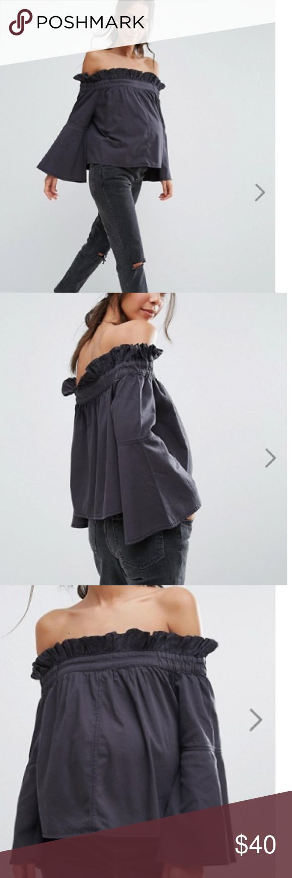 NWT maternity Denim off shoulder  top size 4 Gorgeous maternity top. Fit through all stages of pregnancy 👌. Flattered sleeves . If you love fashion this is for you 👌 100 %cotton . Super comfy and you will look fabulous 👌 ASOS Maternity Tops Crop Tops
