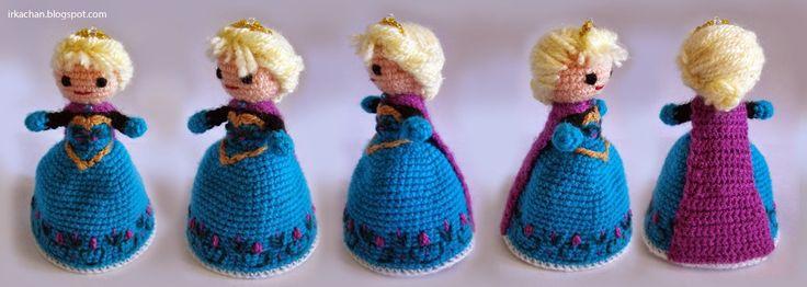 Irka!: Elsa (de Frozen) Transformable Other side of doll. Free pattern in Spanish