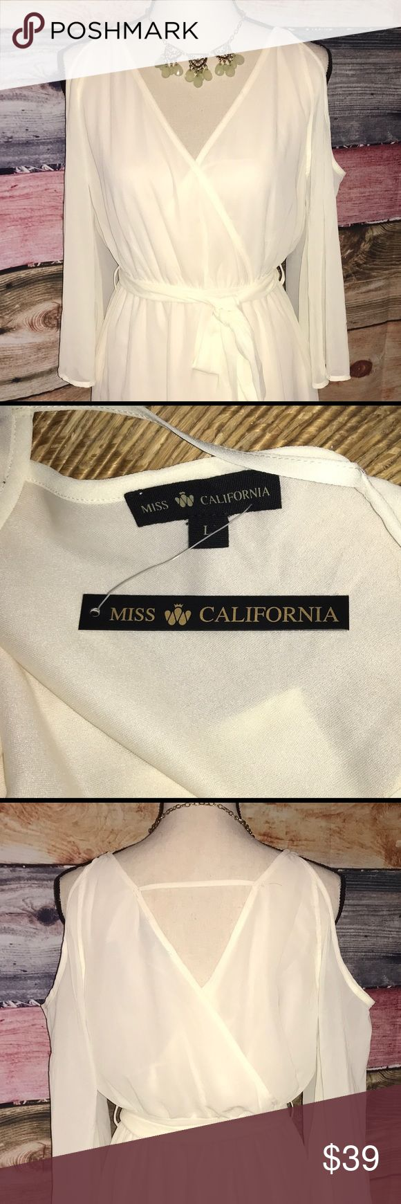 """'MISS CALIFORNIA"""" NWT IVORY COLD SHOULDER DRESS NWT MISS CALIFORNIA SHEER/LINED FAUX WRAP DRESS, THE BACK ALSO IS FAUX WRAP. ELASTIC WAIST W/ LOOPS FOR EXTRA LONG TIE. BELL SLEEVES. BEAUTIFUL DRESS Miss California Dresses Midi"""