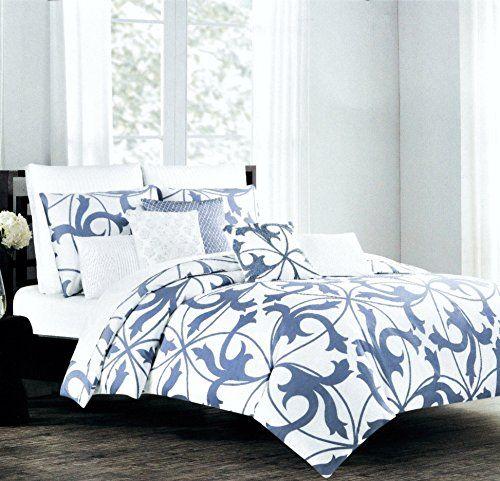 Tahari Home 3pc Luxury Cotton Duvet Cover Set Royal Blue White Scroll King