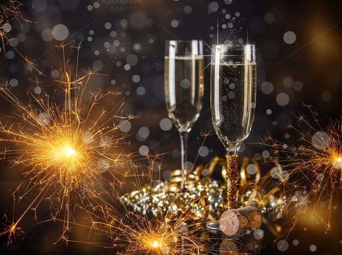 #New Year concept  Champagne glasses ready to bring in the New Year