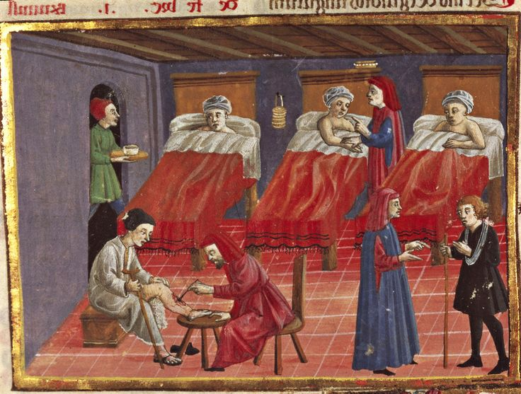 Medieval hospital in Italy around 1450. http://simon-rose.com/books/the-heretics-tomb/medieval-medicine/