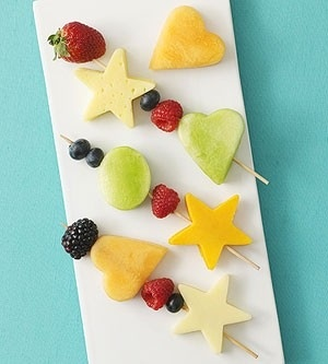 20 Best Snacks for Kids from Parents Magazine.  Love this fun fruit skewer idea!