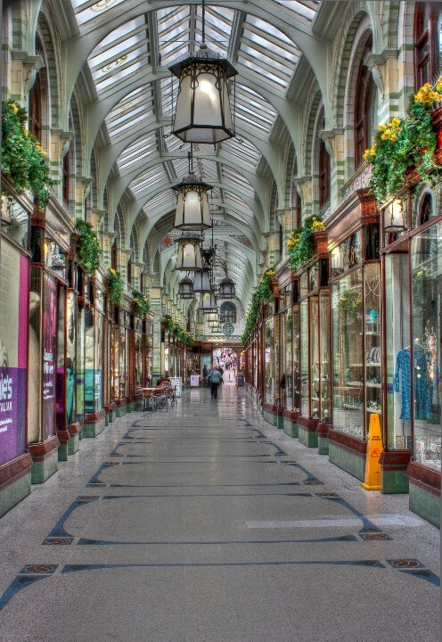 An early morning walk through the royal arcade in Norwich, Norfolk, UK