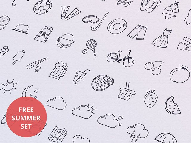 A set of 40 wonderful summer icons created with vector shapes. Free PSD and AI files released byTamara.