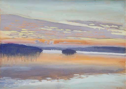 poboh: Auringonlasku Ruovedellä (Sunset at Ruovesi), 1899, Akseli Gallen-Kallela. Finnish (1865 - 1931) - Pencil, Watercolour and Gouache on Paper -