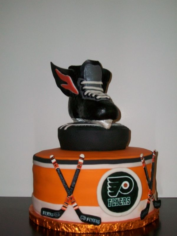 Philadelphia flyers hockey cake, if this was a penguins hockey cake, this would be my sweet sixteen cake! (:
