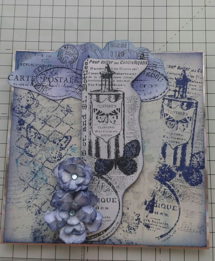 Stamped background and topper using distress inks