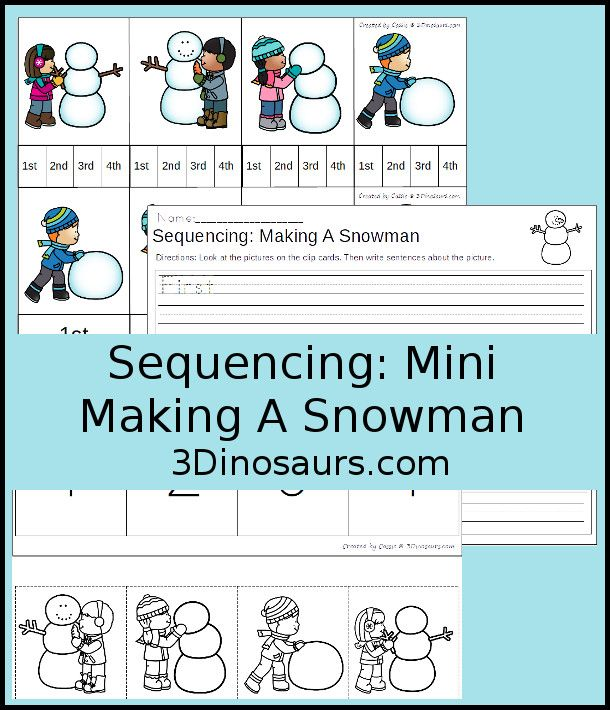 Practice Sequencing And Ordinal Numbers With This Free Making A Snowman Sequencing Set These Free Printables Sequencing Cards Make A Snowman Winter Preschool Snowman sequencing worksheet free