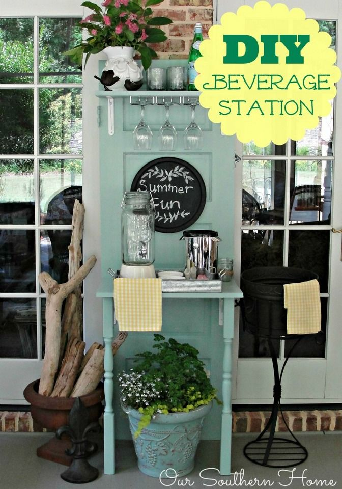 Our Southern Home | Upcycled Beverage Station | http://www.oursouthernhomesc.com