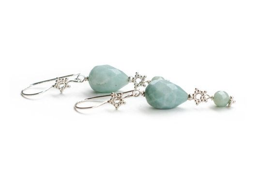 Silver Baby Blue Amazonite Snowflake Earrings by Jeva Jewels #Etsy #JevaJewels #handmadejewelry #swissmade