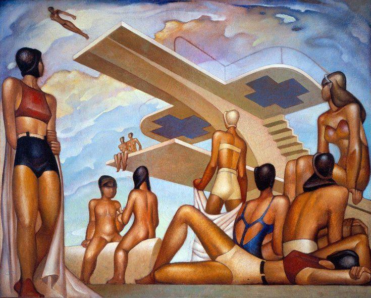 """Jorge González Camarena """"Las Bañistas"""" 1955 Esta obra de Jorge González Camarena recupera tres preceptos del art déco: la alegoría de la máquina, distinguible en la plataforma de clavados que parece pista de aeronaves; el placer y el ocio, evidente en la actividad de las bañistas; y la sensualidad, notable en los cuerpos de las mujeres. Además puedes notar cómo se aplican las figuras geométricas básicas para componer los elementos presentes en el lienzo."""