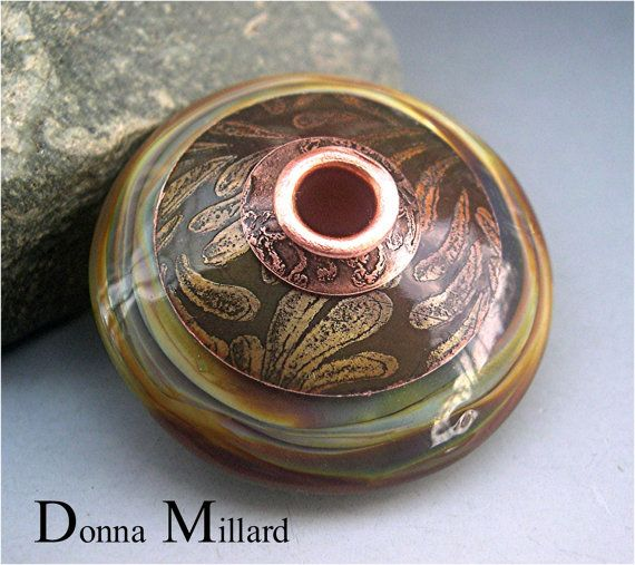 handmade lampwork focal bead donna millard sra lamp work bead organic silver glass pendant necklace