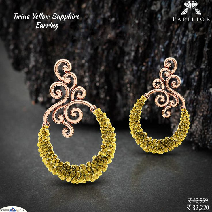 Twine Yellow #Sapphire #Earring beautiful flower-inspired #design will look great with semi traditional as well as party outfits.   #goldearring #sapphireearring #colorstoneearring #shopping #gemstoneearring #gemstonejewelry #earringforgirls  #indianstreetfashion  #style #stylis #fashionable #fashionstyle #exquisite #woman #trends #shopping #perfect #embrace #embracelove  #earringsonlineindia  #buyearringsonline #luxurylife #lightweightearring #dailywearearring