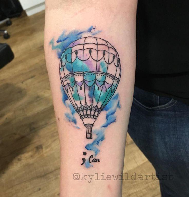 Hot air ballon water color tattoo Ink Tatuagem Balão de ar quente Aquarela @kyliewildartist