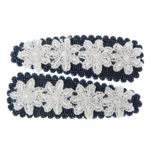 pairof pretty bluedenim clips with white floral lace, by goody gumdrops $7.95