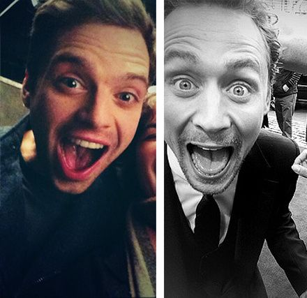 Sebastian Stan and Tom Hiddleston funny/surprised/happy faces .... Would make excellent bookmarks.