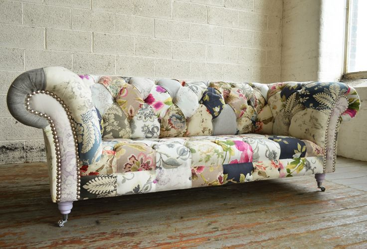 Modern British and handmade Patchwork Chesterfield Sofa. Totally unique fabric 3 seater, shown in floral and shabby chic chintz design. | Abode Sofas