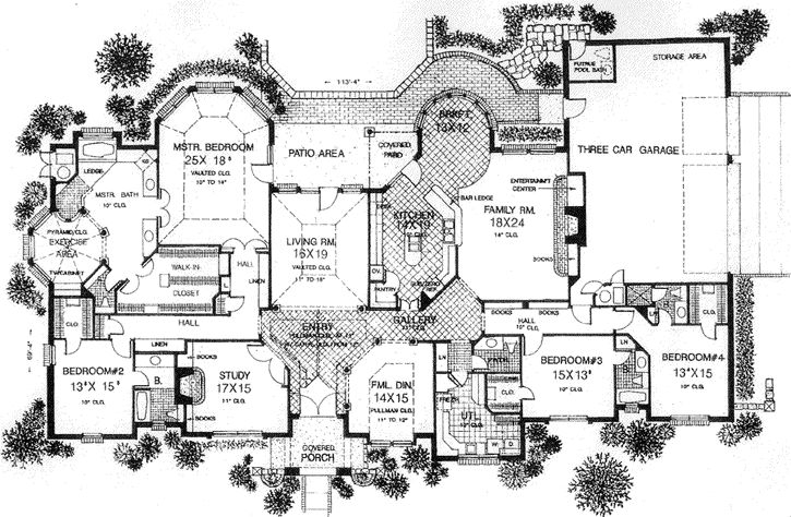 European Style House Plans - 4615 Square Foot Home , 1 Story, 4 Bedroom and 4 Bath, 3 Garage Stalls by Monster House Plans - Plan 8-600