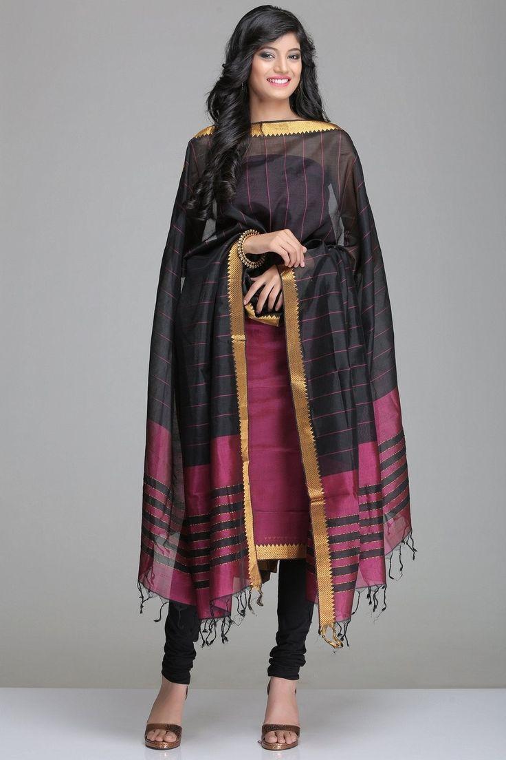 Burgundy & Black Mangalagiri Silk Cotton Unstitched Suit With Gold Zari Border