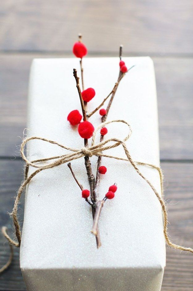 Poke around your yard to find the perfect present topper. | 13 Beautifully Easy Gift Wrapping Ideas