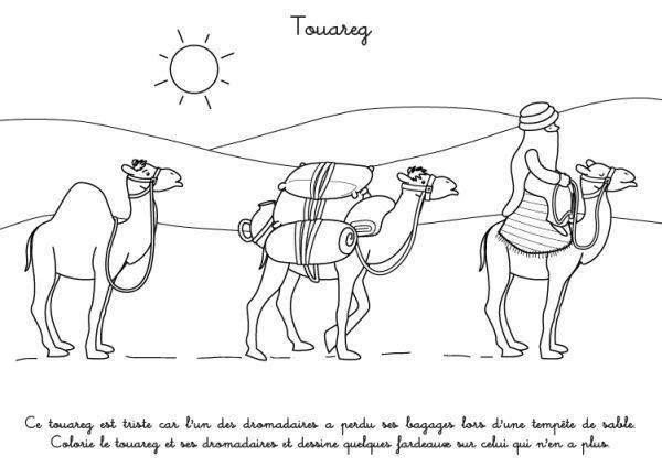 Coloriage à imprimer : Touaregs dans le désert