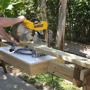 Portable Miter Saw Stand. I started this but haven't finished it yet. Difficulty is increased if you don't have a compound mitre saw.