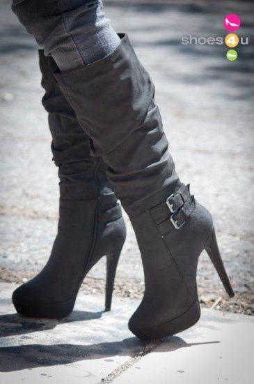 High Heels Wild Rose Gilly 45 Slouchy Buckle Knee High Black Boot 4677 |Black Heels|