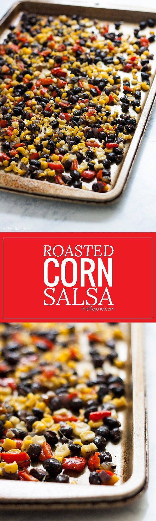 This Roasted Corn Salsa recipe is an easy and healthy addition to a salad, meat-based dinner entree or eggs in the morning. It's homemade with black beans, fresh corn, onions and peppers- I seriously love this so much I now keep a container of it in my re