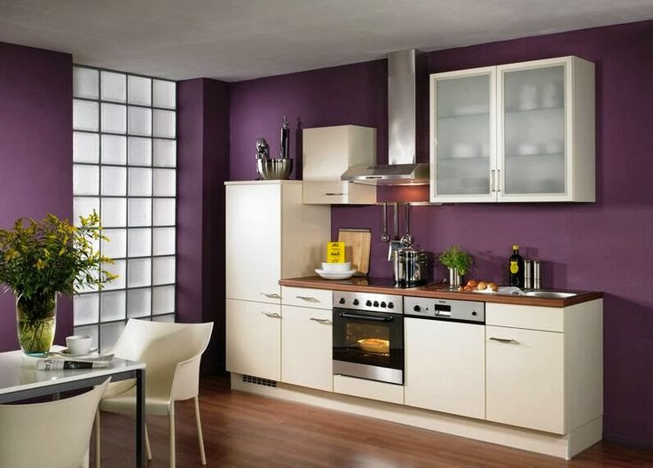 Very Small Kitchen Decoration Ideas : Beautiful White Kitchen Cabinets With  Purple Wall Painted