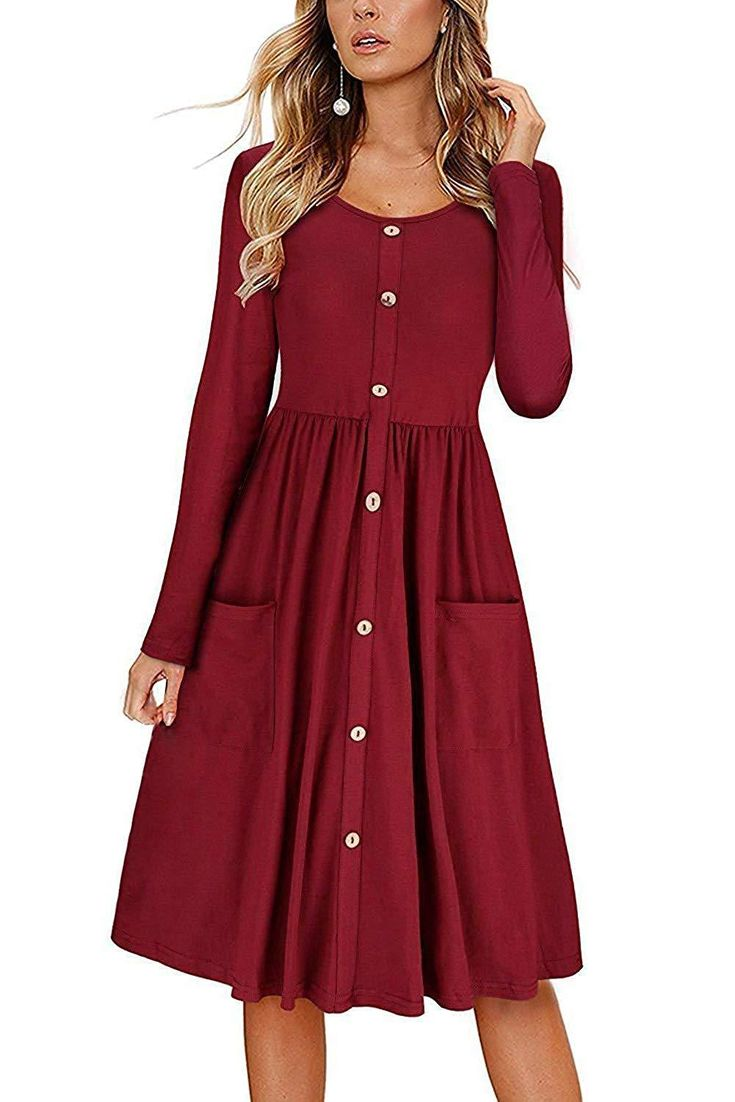 FAVALIVE Womens Dresses Casual Button Down V Neck Swing Midi Dress with Pockets