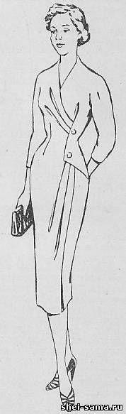 Платье с подрезом на левой полочке и драпировкой - Сто фасонов женского платья - Всё о шитье