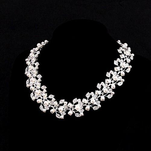 Wholesale Wedding Bridal Jewelry Sets Pearls For Brides Bridesmaid Flora Rhinestones