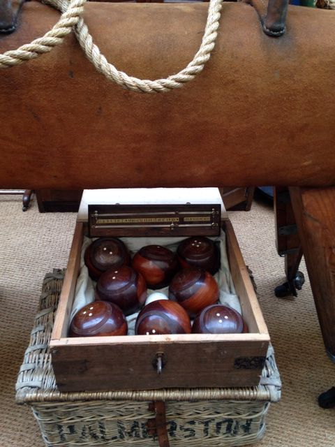Beautiful set of vintage lawn bowls .circa 1905 in the original box .For sale at Bad Betty Home .£250