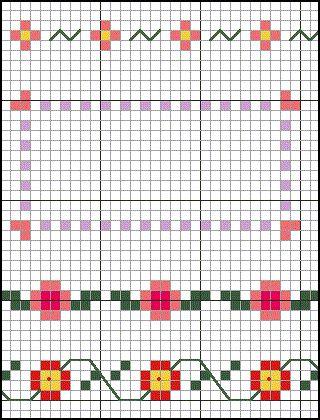 heart cross stitch border for grandma's christmas present