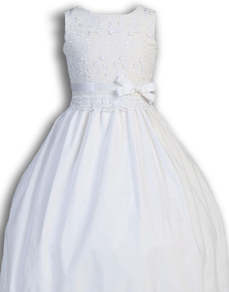 Embroidery, Lace & 3D Flowers Poly Cotton First Holy Communion Dress (Girl's Sizes 5 to 12)