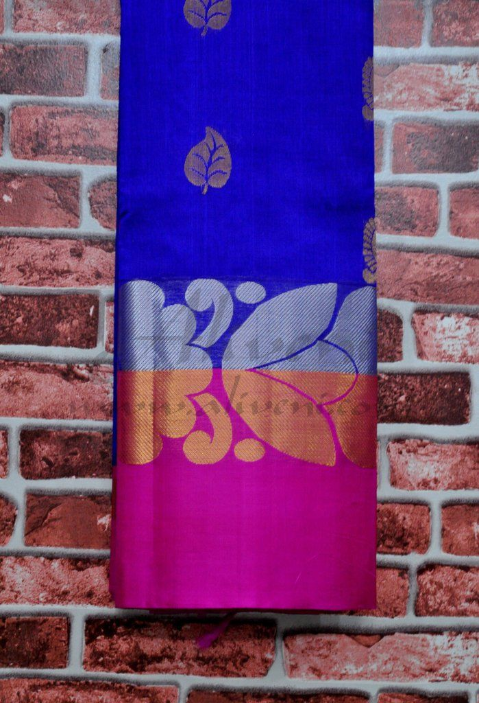 Indigo Blue Handwoven Saree with Broad Pink Copper/Silver Floral Border