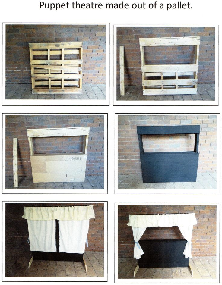 Puppet theatre made out of a pallet, cardboard and fabric. Step by step buide on how to make a puppet theatre.