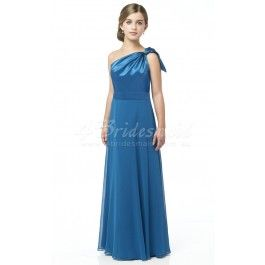 A-line One Shoulder Floor-length Stretch Satin Junior Bridesmaid Dresses(JBD017)